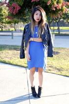 blue H&M dress - black Target boots - black Forever 21 jacket