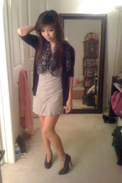 H&M scarf - Pac Sun jacket - Forever 21 dress - Wet Seal shoes