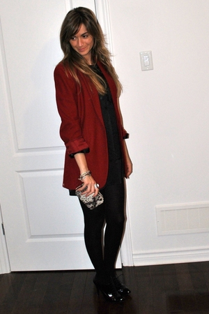 red Ralph Lauren blazer - black Aldo shoes - black silk shirt Simons dress