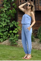 blue jumpsuit American Apparel romper - red lace up Pegabo wedges