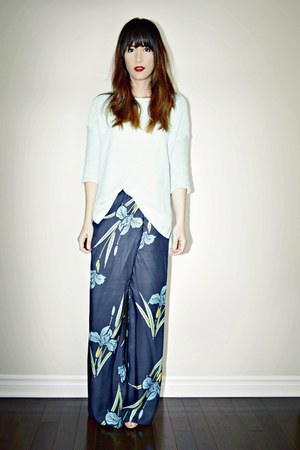 aquamarine knit Topshop sweater - navy Zara pants