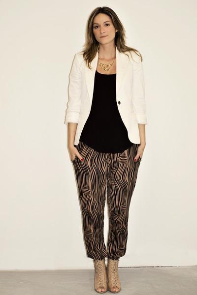 white Zara blazer - black Sirens top - brown H&M pants - beige Aldo shoes