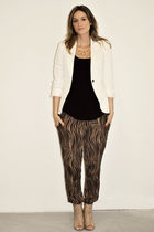 white Zara blazer - black Sirens top - brown H&M pants - beige Aldo shoes