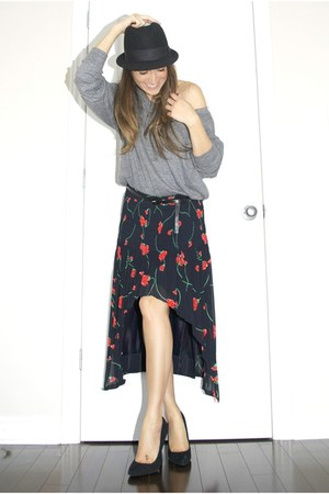 navy floral fishtail vintage DIY skirt - black bowler H&M hat