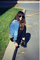 blue denim Ardene jacket - beige leopard print Ardene sweater