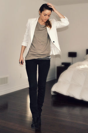 white Zara blazer - black wedge platform Ebay boots - black Ardene jeans