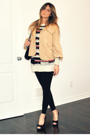 beige David Bitton  Buffalo jacket - Topshop top - black H&M leggings - black Da