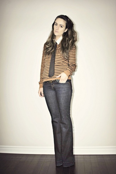 navy bell bottom J Brand jeans - brown striped Forever 21 sweater
