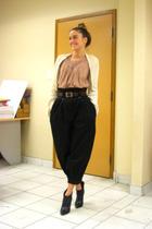 beige Zara - Zara top - black H&M pants - black Aldo boots - brown vintage belt