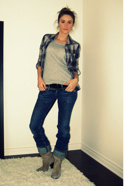 Zara shirt - gray H&amp;M t-shirt - blue Diesel jeans - beige Aldo boots - black Die