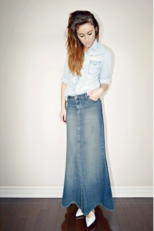 blue denim maxi Urban Outfitters skirt