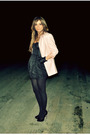 Pink-ebay-blazer-black-h-m-dress-black-aldo-shoes-black-aldo-gloves-gold
