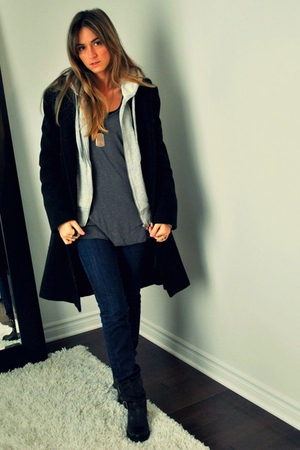 black le chateau coat - gray H&amp;M sweater - gray Ardene top - blue Mango jeans - 