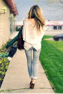 Green-zara-jacket-beige-ardene-top-gray-ardene-jeans-brown-david-bitton-b