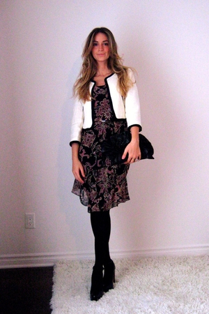H&amp;M blazer - Forever 21 dress - Ardene stockings - Aldo shoes - gift -  belt