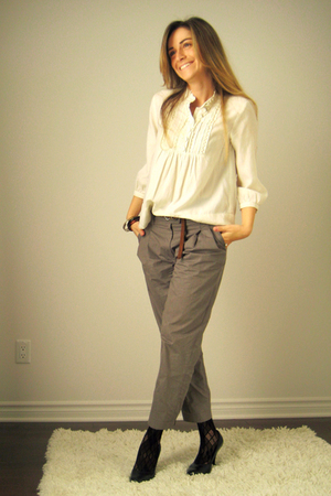 H&amp;M blouse - H&amp;M pants - Aldo belt - Ardene stockings - Aldo shoes - AldoArdene
