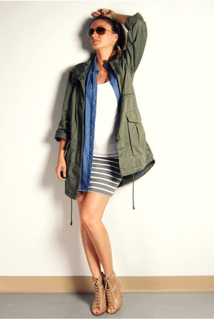 green H&amp;M jacket - blue Forever 21 shirt - white Ardene top - gray Forever 21 sk