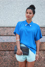 Blue-collar-batwing-vintage-blouse-navy-clutch-eelskin-vintage-bag
