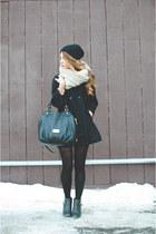 black wool Zara jacket - beige wool asos scarf