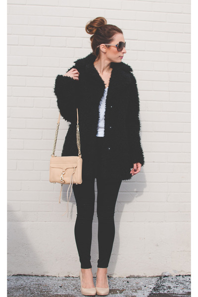 faux fur Topshop coat - black Topshop jeans - leather Rebecca Minkoff bag