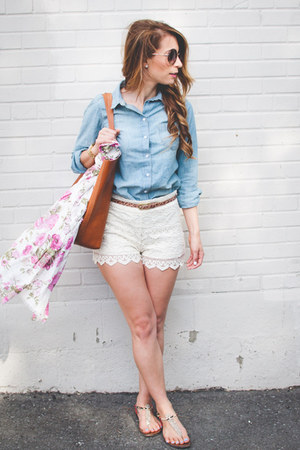 ivory lace Forever 21 shorts - light blue chambray H&M shirt