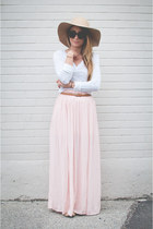 light pink maxi Forever 21 skirt - camel floppy hat American Apparel hat