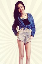 black corpete top - navy linen jacket - tan satin shorts
