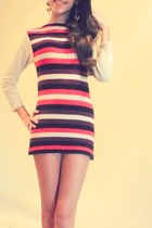 red striped brown dress