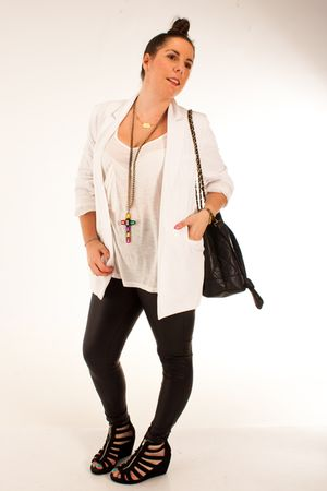 gray Primark leggings - black H&M shoes - white Primark blazer - red DAY A DAY n
