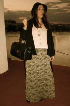 black SU-SHI bag - green H&M dress - black H&M cardigan