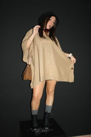 black New Yorker boots - beige H&M cardigan - brown Zara bag