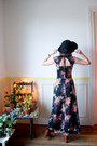Black-vintage-dress-black-vintage-hat-black-goodnight-day-scarf