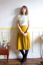1970s Sonia Rykiel pleated skirt XS / mustard/ midi / French designer