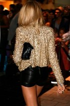 golden blazer - leather bag - leather shorts