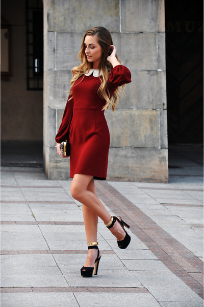 black Zara shoes - brick red Zara dress - Zara bag - Zara necklace