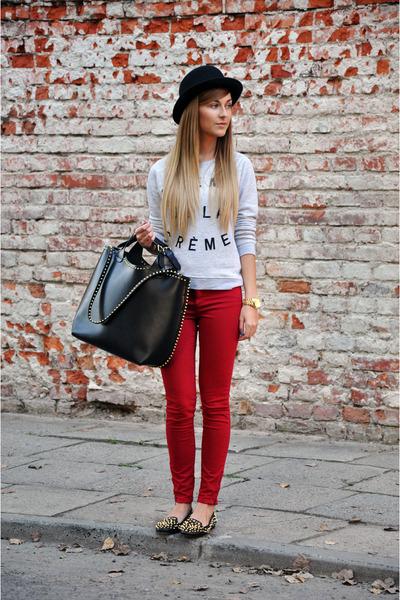 black studded Zara bag - black studded Zara shoes - brick red asos jeans