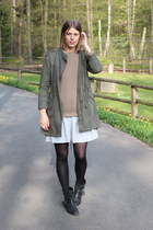 army green Monki jacket - black Zara boots - tan COS jumper