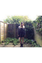 black Dr Martens boots - black worn as a top H&M dress - black H&M jacket