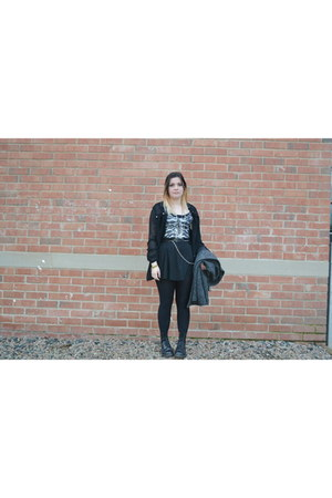 black skeleton Primark top - charcoal gray Primark coat