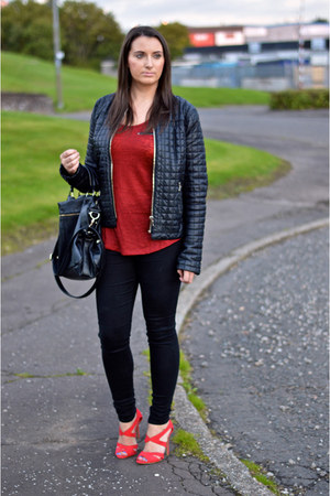 brick red red new look vest - black skinny jeans Dorothy Perkins jeans