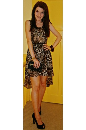 tawny new look dress - black Primark purse - black Fiore Matalan heels