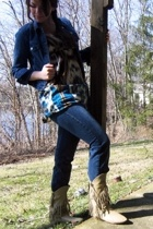 Old Navy jacket - rue21 top - Express jeans - thrifted boots - Avon earrings