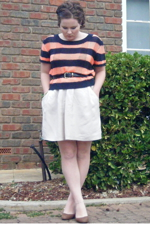 orange bardot top - beige Witchery skirt - blue Belt belt - brown wedges shoes -