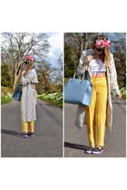 light blue pastel blue bag bag - off white H&M coat