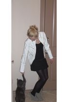 white Kelli Kouri jacket - black Forever 21 shirt - black Target skirt - black T