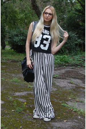 Topshop bag - Zara pants - Converse sneakers - OASAP top - firmoo glasses