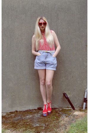 6ks shorts - Ebay sunglasses - Topshop top - Jeffrey Campbell heels