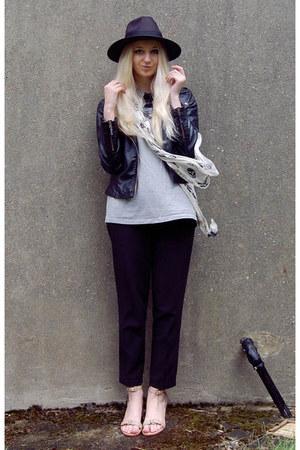 Alexander McQueen scarf - Boohoo hat - Sheinside jacket - Dorothy Perkins pants