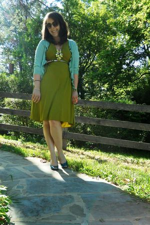 green JCrew dress - blue JCrew cardigan - blue Old Navy shoes - gold Old Navy ne