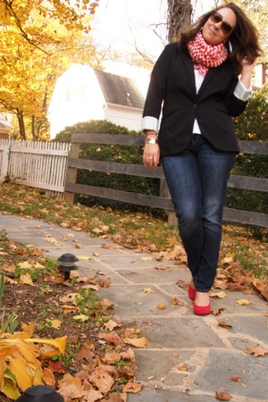 black Target blazer - white Old Navy t-shirt - blue Gap jeans - red Wet Seal sho
